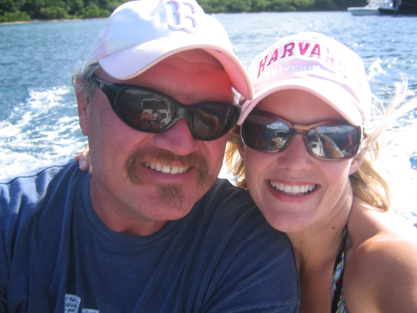 All Smiles as We Dingy from Bar to Beach in the BVI's