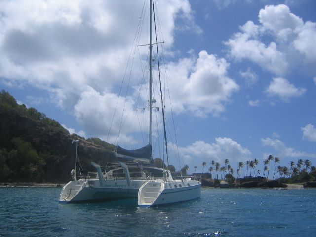 Petit Nevis- our private anchorage