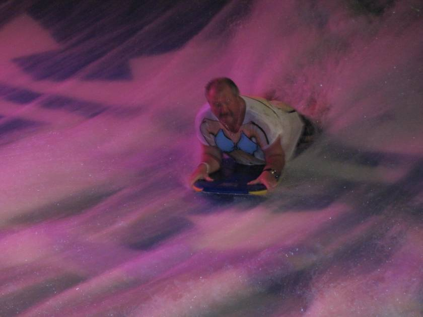 Pirate surfs on the flow-rider