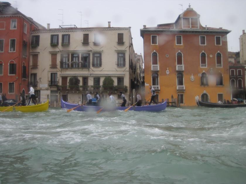 Gondola race on a rainy day