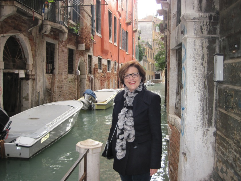 Karyn in the narrow canals of Venice