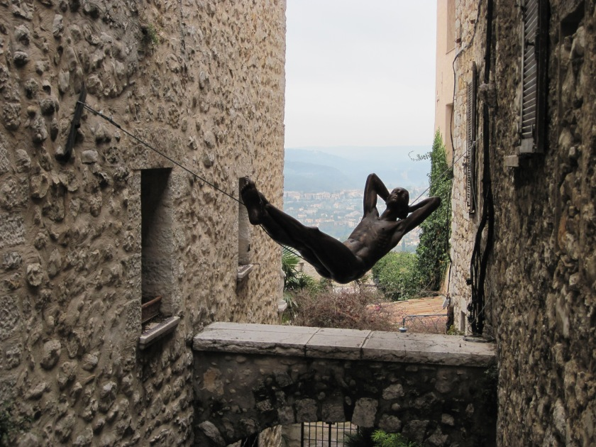 Swinging Suspended Art in St. Paul-De-Vence