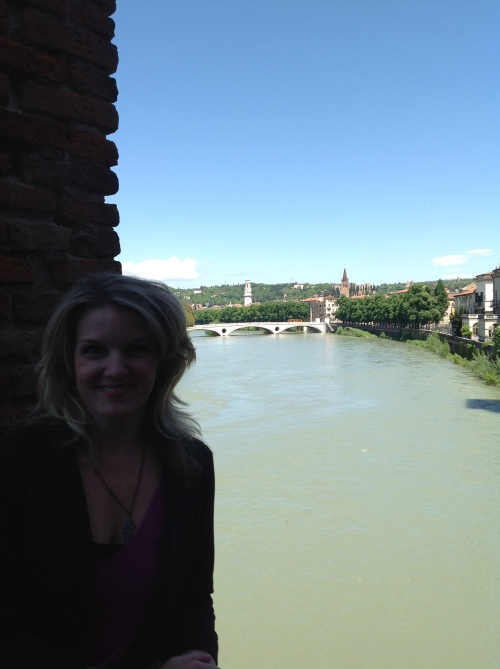 Atop Castelvecchio Bridge overlooking the Adige
