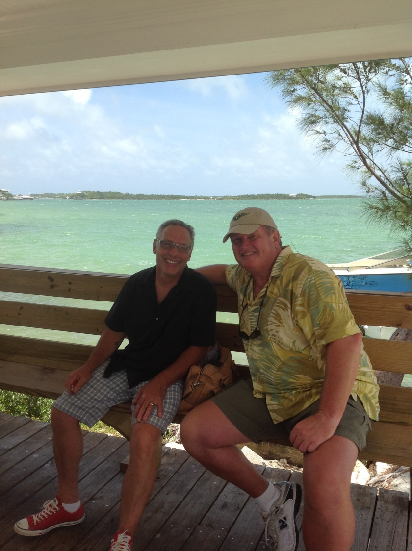 Pirate and Mike at ferry landing in Marsh Habor