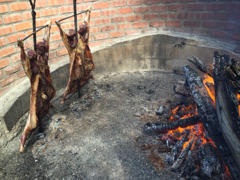 Traditional lamb barbeque